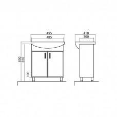 Izlientes un skapīša komplekts Assol 50,41cmx49.5cm