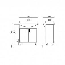 Izlientes un skapīša komplekts Assol 55,44cmx54.5cm
