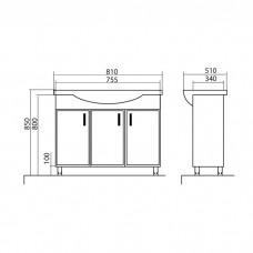 Izlientes un skapīša komplekts Assol 80,51cmx81cm