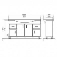 Izlientes un skapīša komplekts Assol 100,48cmx100cm