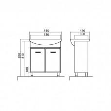 Izlientes un skapīša komplekts Décor 55,44cmx54.5cm