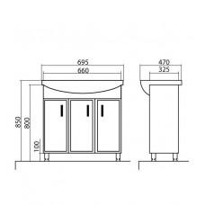 Izlientes un skapīša komplekts Décor 70,69.5cmx47cm