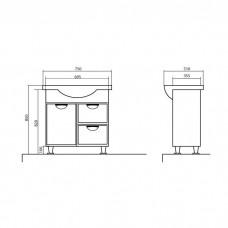Izlientes un skapīša komplekts Glorija 05GL75,51cmx75cm