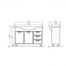 Izlientes un skapīša komplekts Glorija 05GL90,55cmx90cm