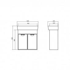 Izlientes un skapīša komplekts Glorija 05GL50,24.5cmx50cm