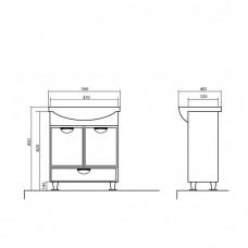 Izlientes un skapīša komplekts Glorija 05GL50 C,40.5cmx50cm