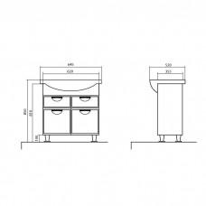 Izlientes un skapīša komplekts Glorija 05GL0265,52cmx64.5cm