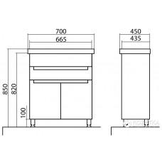 Izlientes un skapīša komplekts Omega 70,45cmx70cm