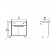 Izlientes un skapīša komplekts Rodors 55,44cmx54.5cm