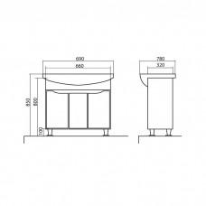Izlientes un skapīša komplekts Rodors 70,48cmx69cm