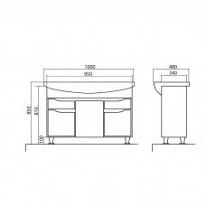 Izlientes un skapīša komplekts Rodors 100,48cmx100cm