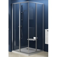 Dušas Durvis Stūrim Srv2-S, 80cm, Balts/Caurspīdīgs Stikls