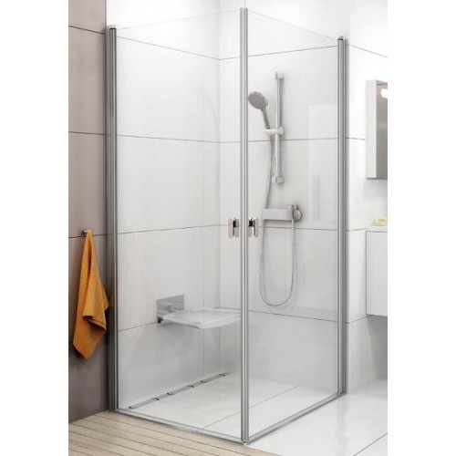 Durvis Dušas Stūrim Crv1, 80cm, Satīns/Caurspīdīgs Stikls