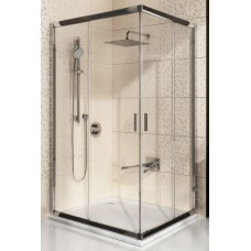 Dušas Durvis Stūrim Blrv2K, 90cm, Balts/Caurspīdīgs Stikls