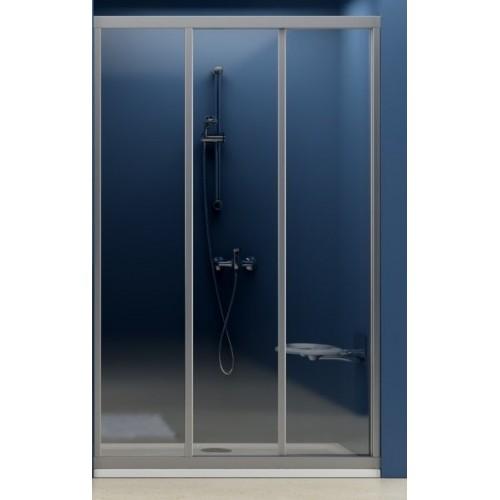 Dušas Durvis Asdp3,130cm,Balts/Caurspīdīgs Stikls
