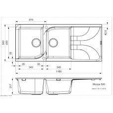 Virtuves Izlietne Monza 500,50cmx116cm