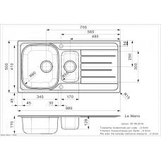 Virtuves Izlietne Le Mans (R),50cmx98cm