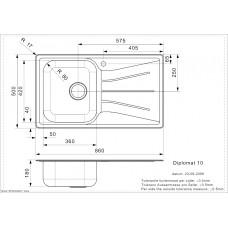 Virtuves Izlietne Diplomat 10 Lux (R),50cmx86cm