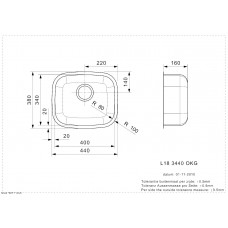 Virtuves Izlietne L18 3440 Okg (L),38cmx44cm