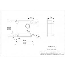 Virtuves Izlietne L18 4035 Okg (L),39.3cmx44.5cm