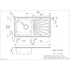 Virtuves Izlietne Beta 10 (R),43cmx78cm