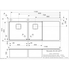Virtuves Izlietne Nevada 40-30 Left (L),51cmx116cm