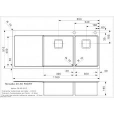 Virtuves Izlietne Nevada 40-30 Right (L),51cmx116cm