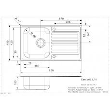 Virtuves Izlietne Centurio 10 (L),50cmx86cm