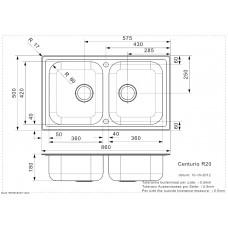 Virtuves Izlietne Centurio 20 (R),50cmx86cm