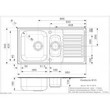 Virtuves Izlietne Centurio 1.5 (R),50cmx95cm