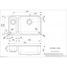 Virtuves Izlietne Ib 1840+5040 (U),44cmx74cm