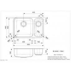 Virtuves Izlietne Ib 4040+1840 (L),42cmx63cm