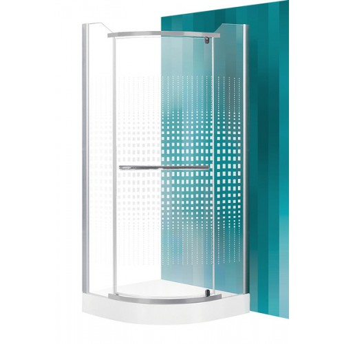 Dušas Stūris Austin,80cmx80cm, matēts sudrabs/dekora stikls