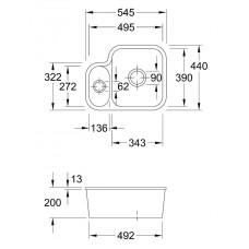 Virtuves Izlietne Cisterna 60B,44cmx54.5cm