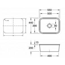 Virtuves Izlietne Cisterna 60C,44cmx55cm